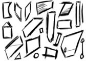 Doodle, Set hand drawn shapes, square, trapezoid — Stock Photo