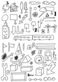 Doodle set hand drawn shapes and abstract object — Stock fotografie