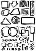 Doodle, Set hand drawn shapes, circle, square, line — Stock Photo
