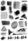 Doodle set hand drawn hatched and shade shapes — 图库照片