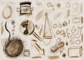 Hand drawn doodle old grunge design elements sepia background — Stock Photo