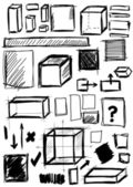 Doodle, set hand drawn shapes square, cube — Stock Photo