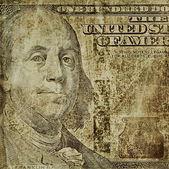 Illustration old grunge Benjamin Franklin, new one hundred dollars bill — Foto de Stock