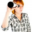 Woman with telescope - Stock Photo