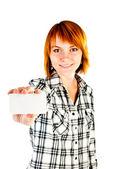 Женщина Холдинг пустой карты — Стоковое фото