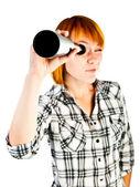 Woman with telescope — Stock Photo