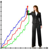 Business woman drawing graph — Stock Photo