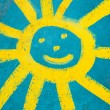 Smiling face sun — Stock Photo