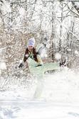 žena v zimě — Stock fotografie