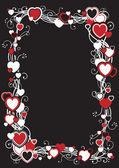 Marco con corazones — Vector de stock
