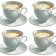 Four cups with cappuccino — Stock Vector