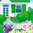 Country house with garden — Stock Vector