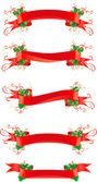 Set of banners with holly — Stock Vector