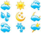 Ikony nastavit počasí — Stock vektor