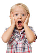 Cute young surprised boy — Stock Photo