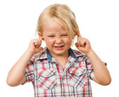 Sad boy covering his ears — Stock Photo