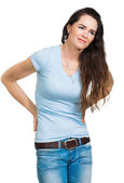 Sırt ağrısı muzdarip kadın — Stok fotoğraf