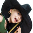 Cute boy dress up as witch — Stock Photo