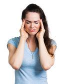 Mulher que sofre de dor de cabeça — Foto Stock