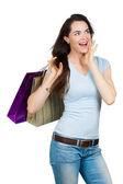 Счастливая удивлен женщина покупки — Стоковое фото