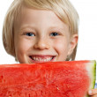 Close-up of boy holding water melon — Stock Photo #33592287