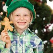 Elf boy holding gingerbread man — Stock Photo #34203641