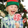 Laughing elf looking at lollipo — Stock Photo #34203819