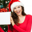 Happy surprised woman holding Christmas gift — Stock Photo #34382559