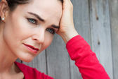 Close-up of sad and depressed woman — Stok fotoğraf