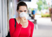 Woman wearing mask coughing — Stock Photo