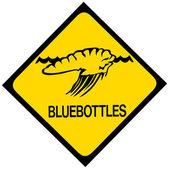 Blue bottle jellyfish warning sign — Stock Photo