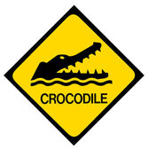 Crocodile warning sign — Stock Photo