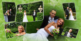 Young couple outdoors-collage — Stock Photo