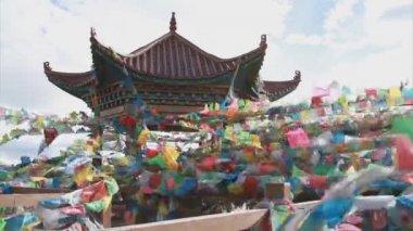 Flagi modlitewne buddyjski — Wideo stockowe