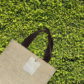Shopping bag on green leaves — Stock Photo