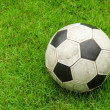 Green grass soccer field with ball — Stock Photo