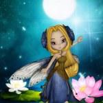 Lake fairy dance midnight moon — Stock Photo