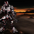 Futuristic alien robot with scifi space background — ストック写真