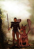 Fantasy illustration about a warrior and his dragon — Stock Photo
