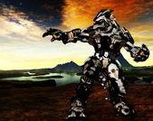 Robô futurista em ação — Fotografia Stock