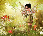 Nature fairy in forest — Stock Photo