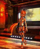 Futuristic soldier girl at spaceship gate — Stock Photo