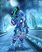 Futuristic grunge warrior bot — Stock Photo