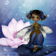 Cute fairy standing on a water lily leaf — 图库照片