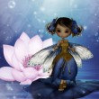 Cute fairy standing on a water lily leaf — Stock Photo #16983865