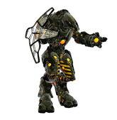 Futuristic alien in powerful combat armor — Stock Photo
