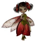 Cute fairy dances in her petal dress — Stock Photo