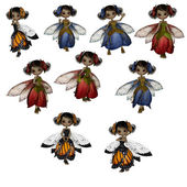 Collection of cute fairies — Stock Photo