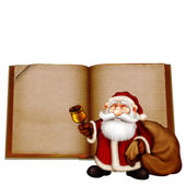 Christmas greeting card with friendly santa claus on open book background — Stok fotoğraf