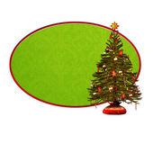 Christmas gratulationskort med julgran på grön bakgrund — Stockfoto